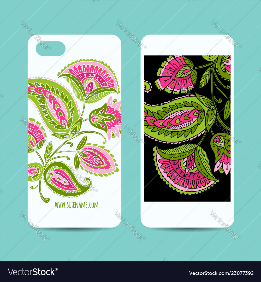 Mobile Phone Cover Design Floral Background Vector Image
