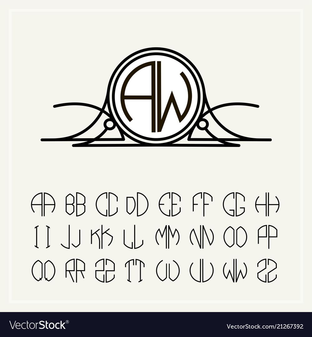 monogram an art nouveau label with two letters vector image