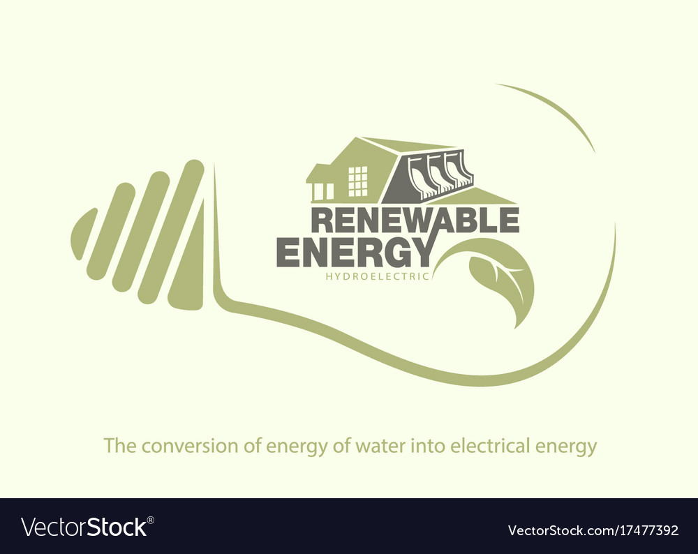 Renewable Energy Of Hydroelectric Power In Bulb Vector Image Diagram