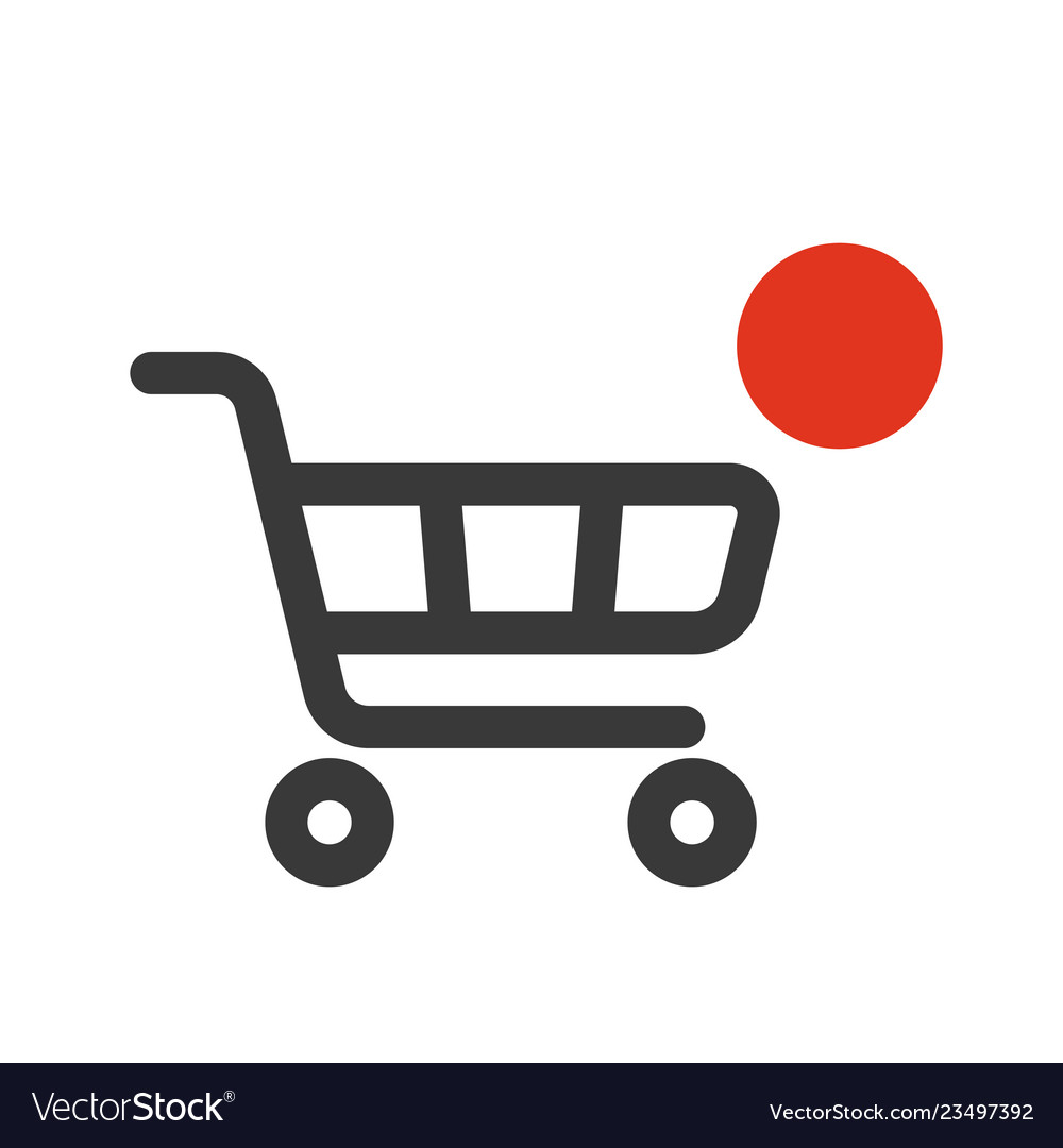 Shopping cart icon with counter added online