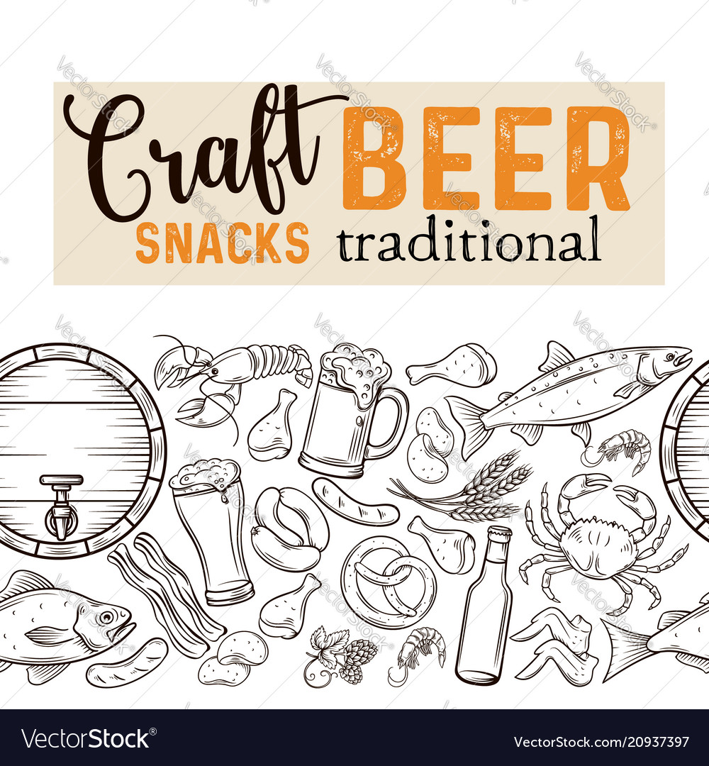 Beer seamless border vector image