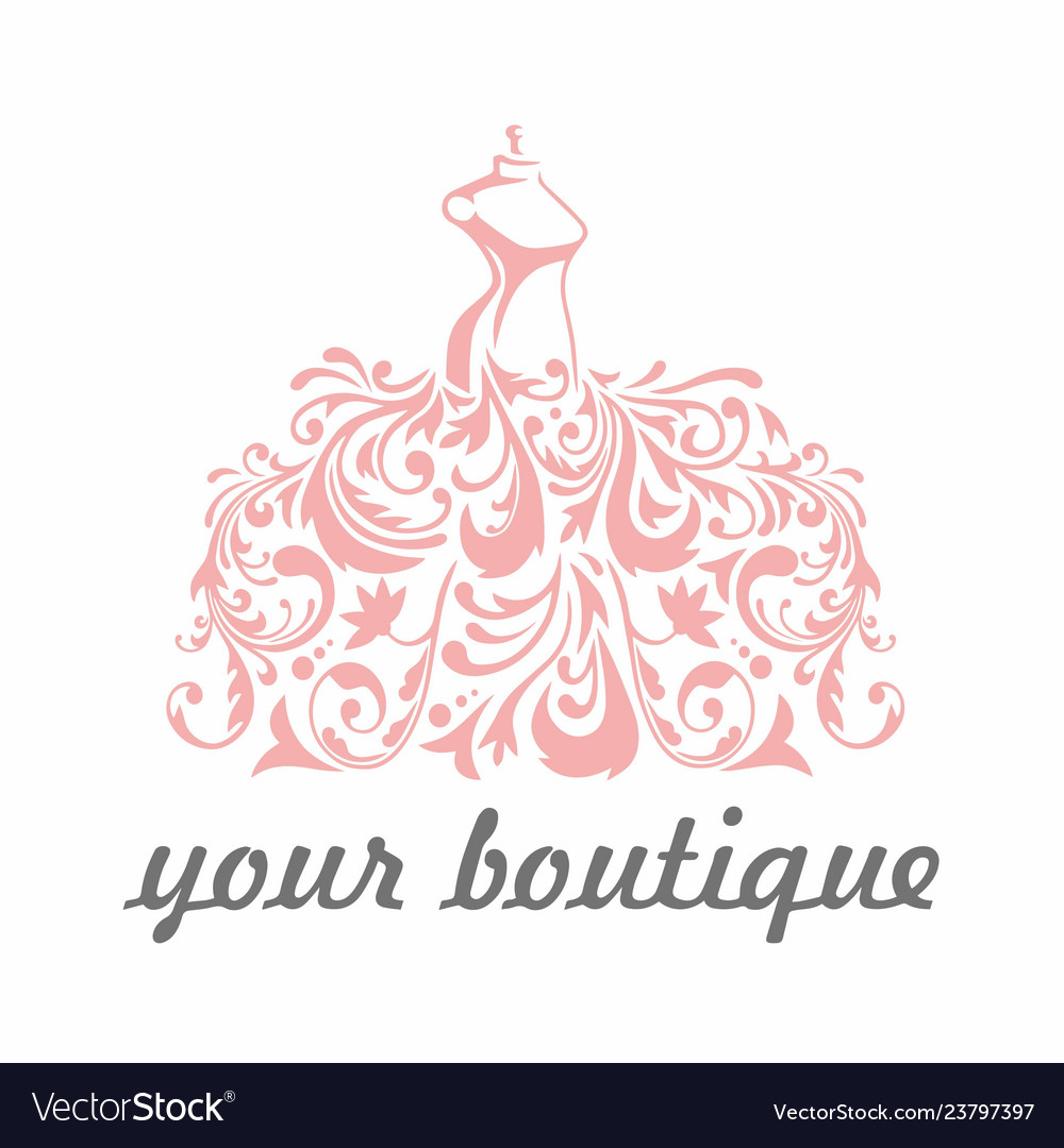 Boutique bridal dress floral luxury logo template