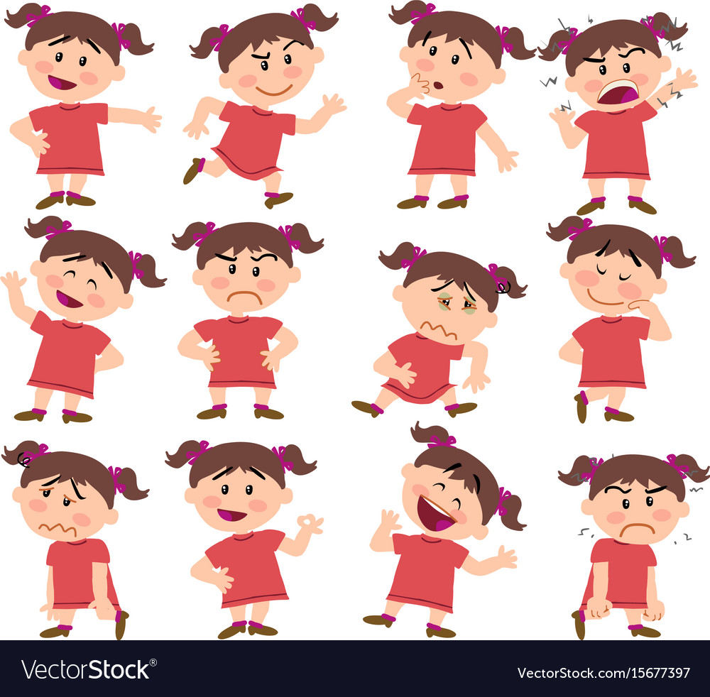 Cartoon character girl set with different postures