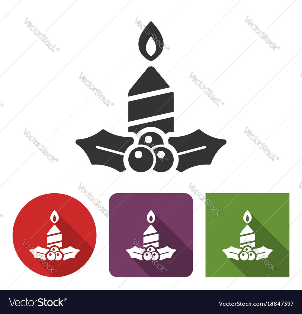 Christmas candle icon in different variants