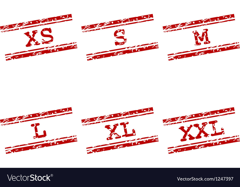 Clothing size stamps vector image