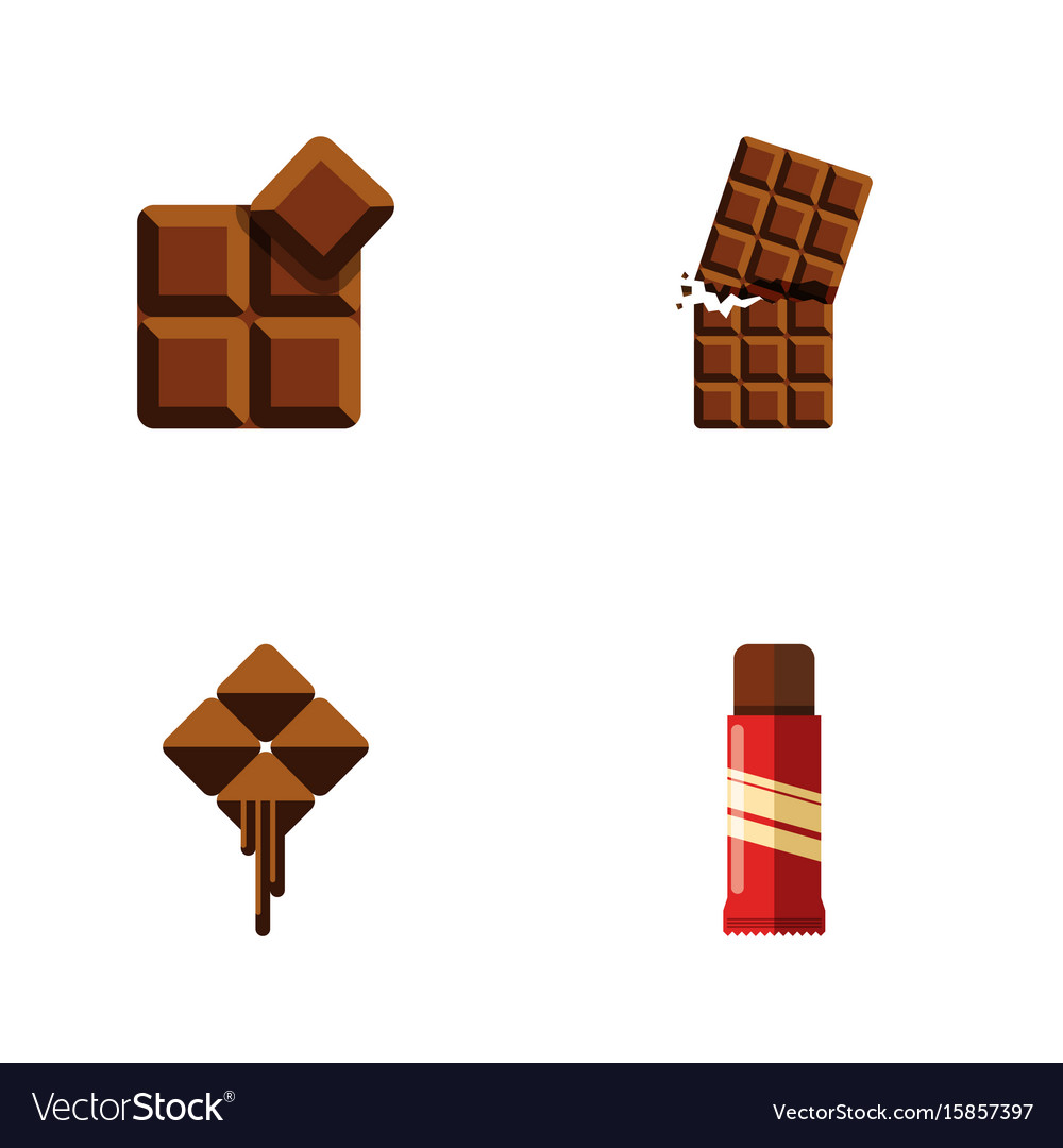 Flat icon sweet set of cocoa delicious sweet and vector image