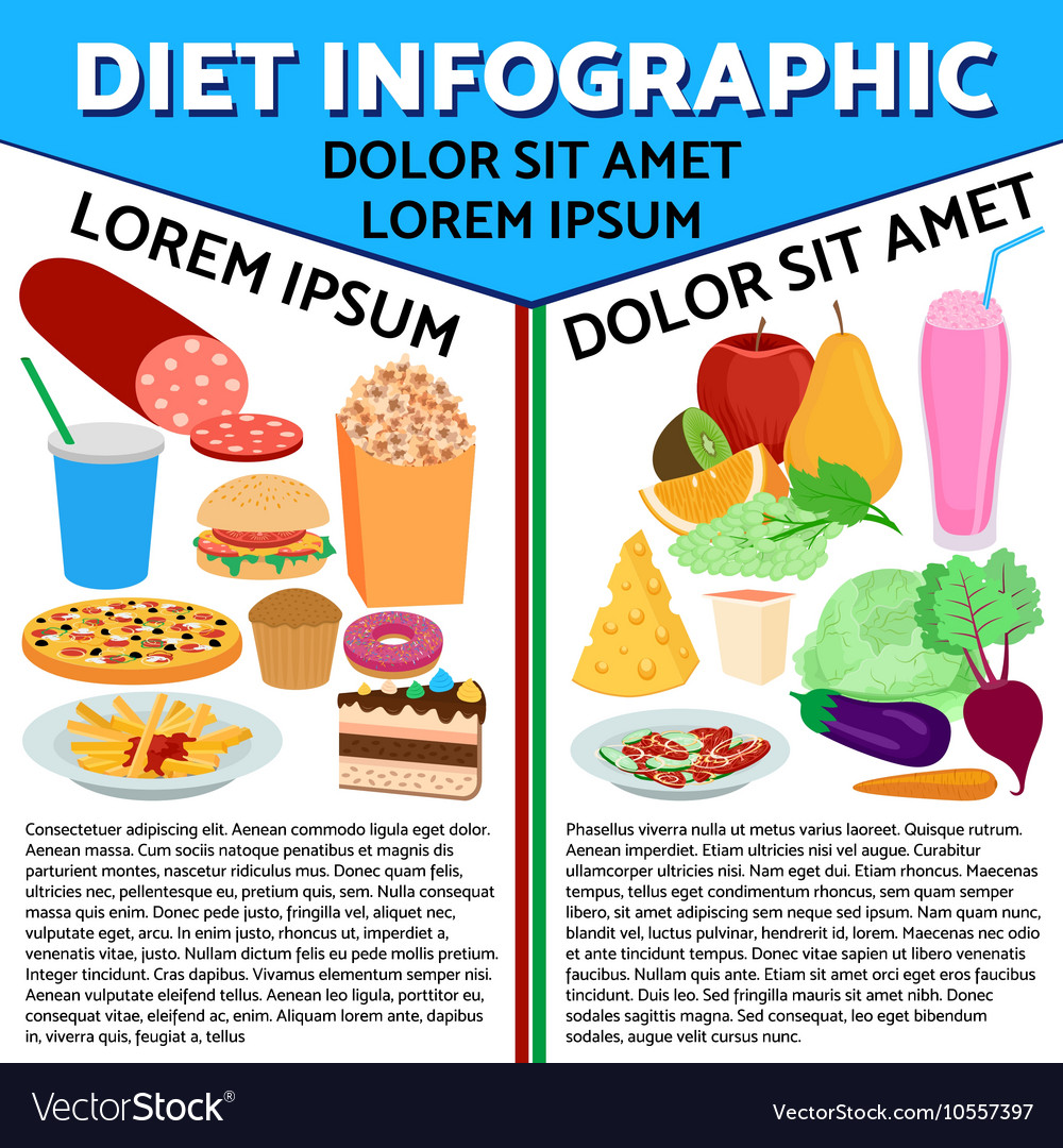 Food flat infographic vector image