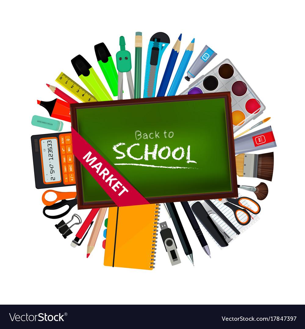 Green blackboard of teacher and different school