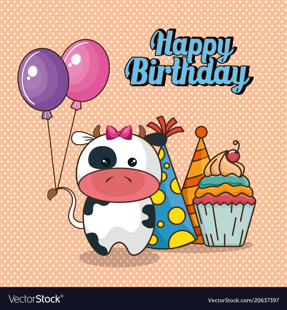 happy birthday card with cute cow royalty free vector image