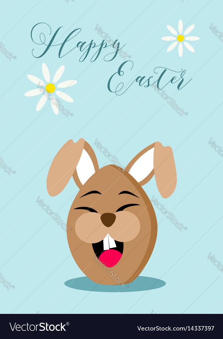 Happy easter chocolate egg rabbit greeting card