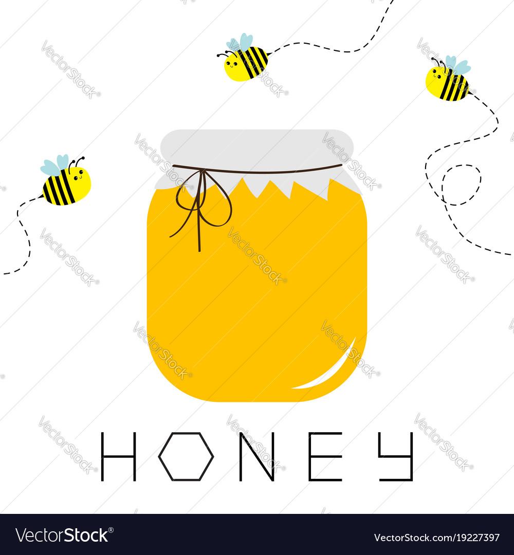 Honey Jar Pot Icon Honeycomb Text Beehive Vector Image
