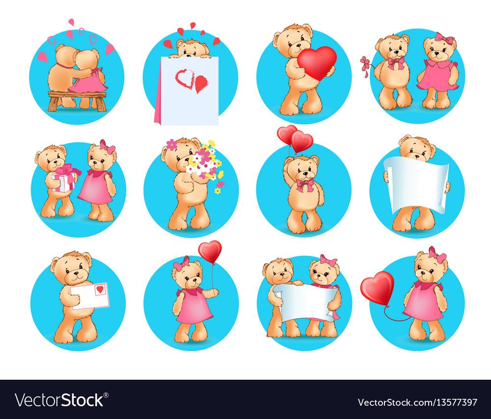 Loving cartoon bears flat icons set