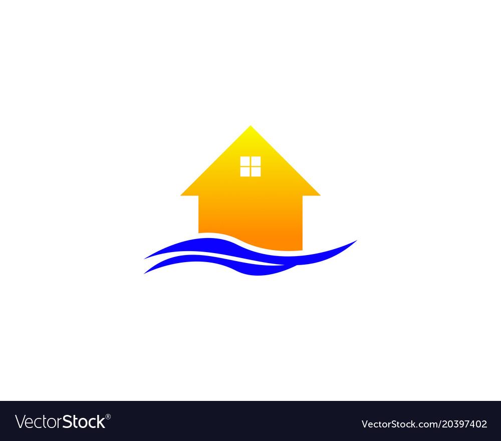 Beach House Logo Royalty Free Vector