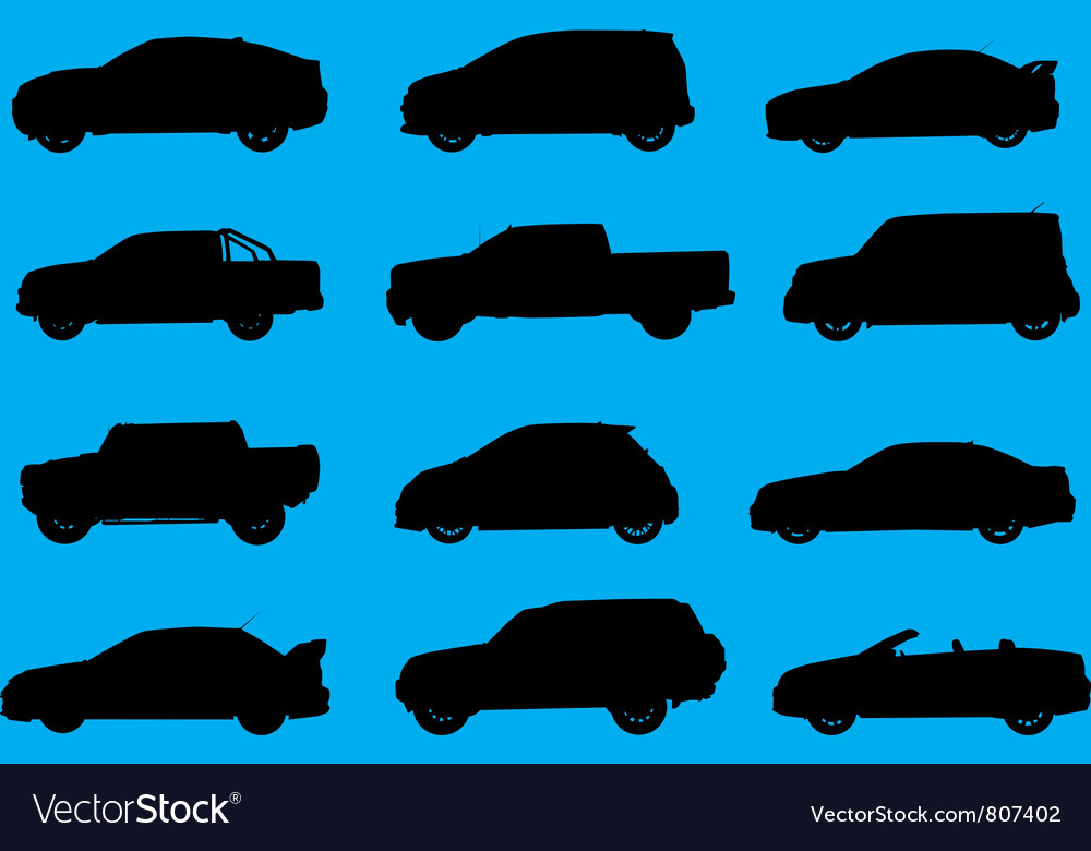 Cars silhouettes part 4 vector image
