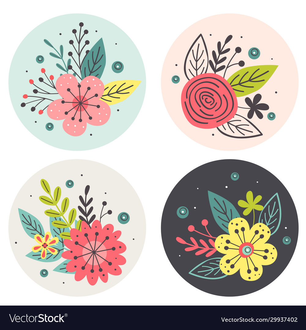 Circle tags with flowers on white background