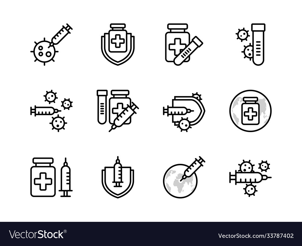 Covid19-19 vaccine icon set outline style sign