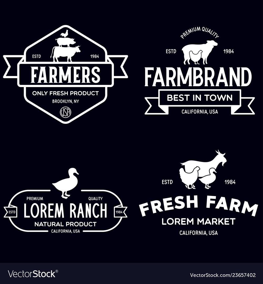 Farmers market logo templates stamps labels badges