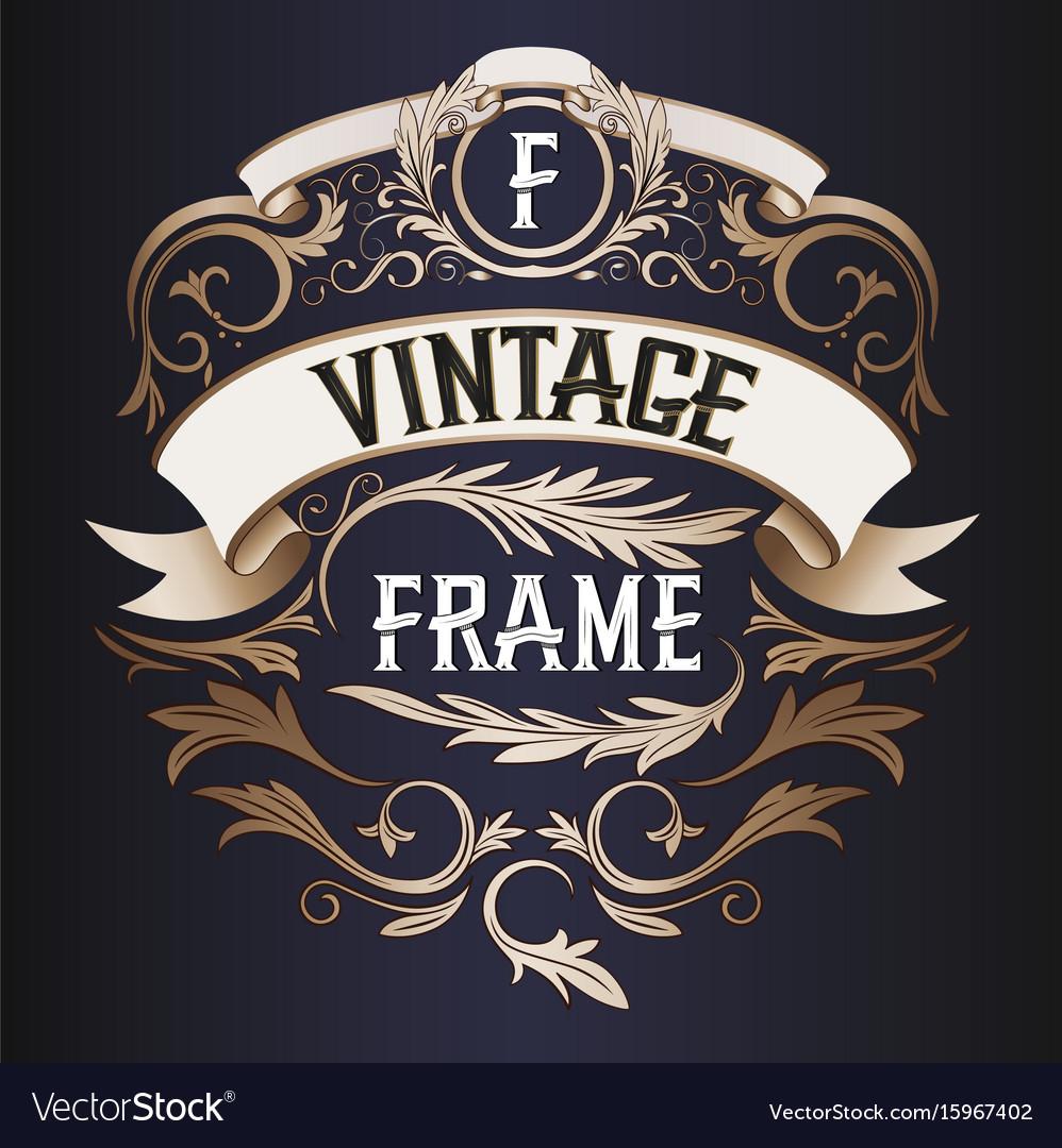 Frame - vintage text decoration monogram vector image