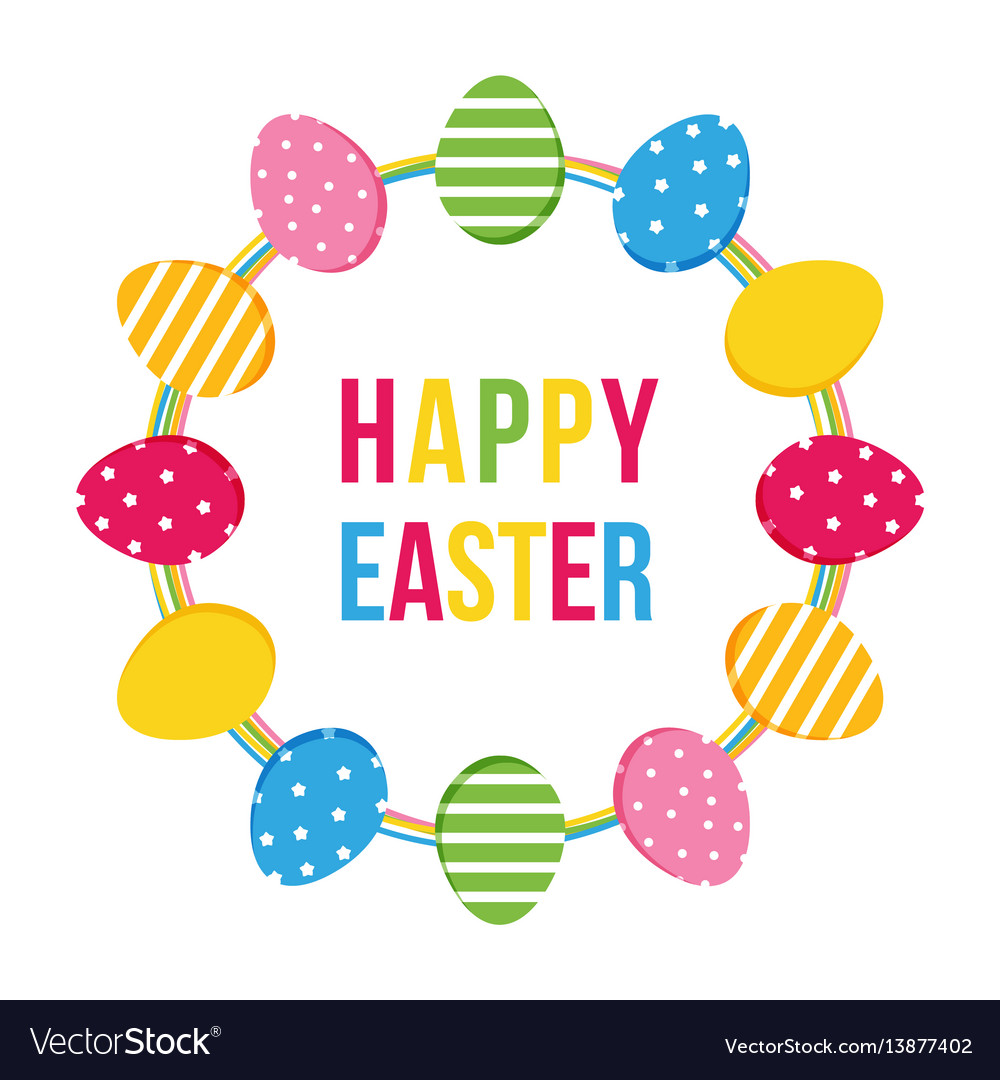 Happy easter card with eggs round frame