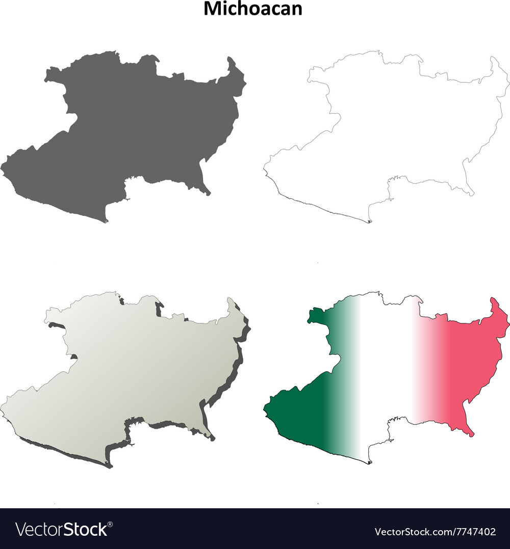 Michoacan blank outline map set