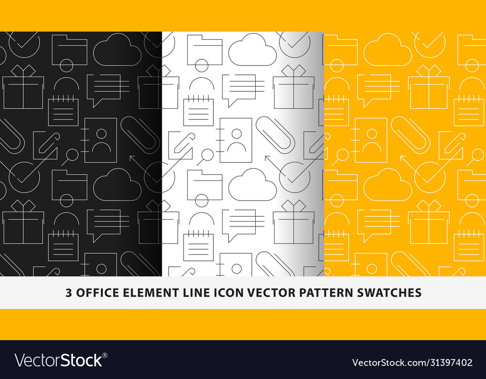 Office element line icon pattern swatches