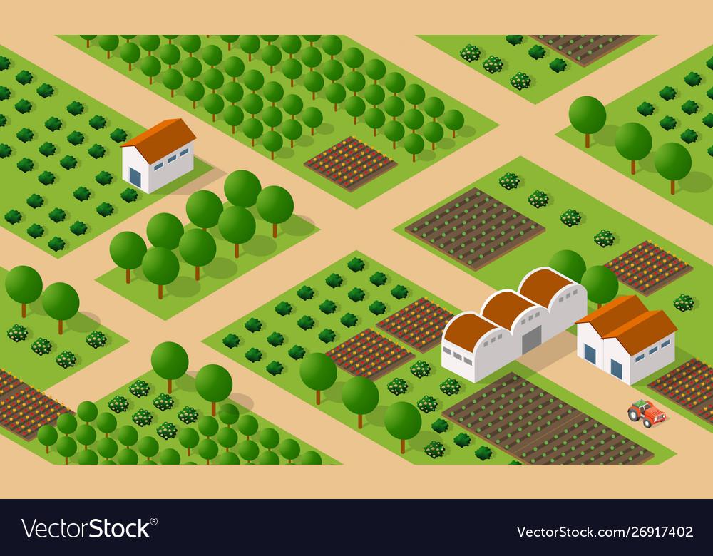 Rural isometric ranch farm