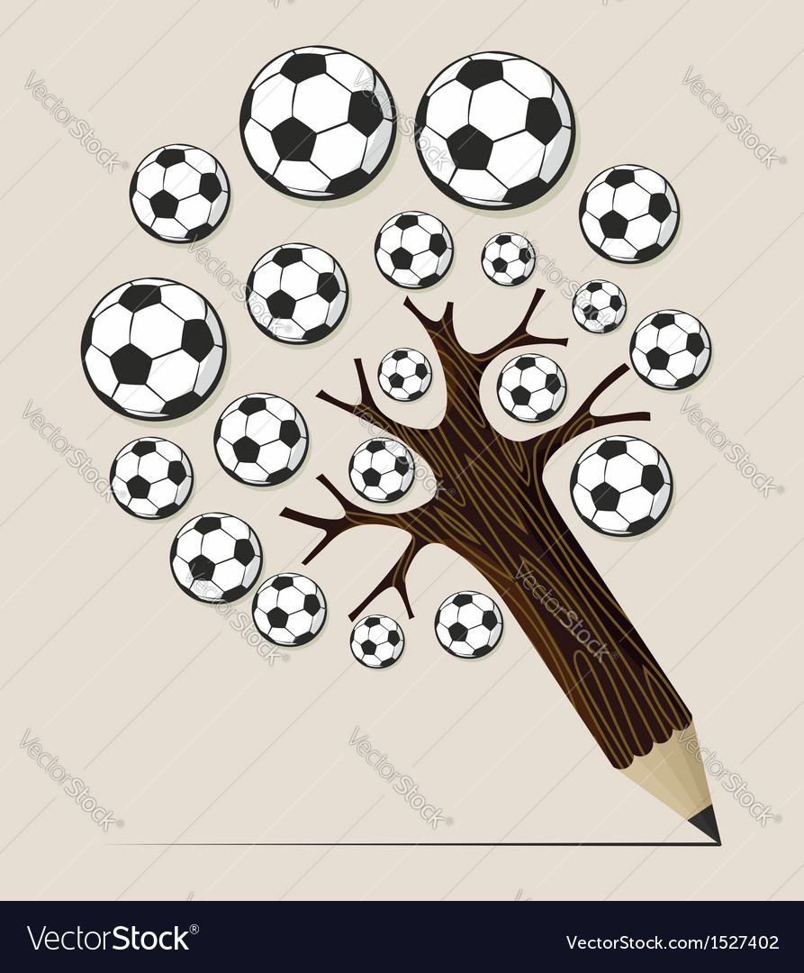Soccer ball pencil tree concept