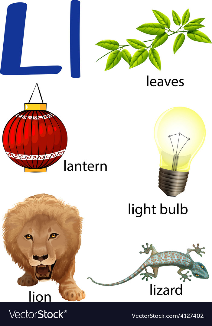 Things that start with the letter L Royalty Free Vector