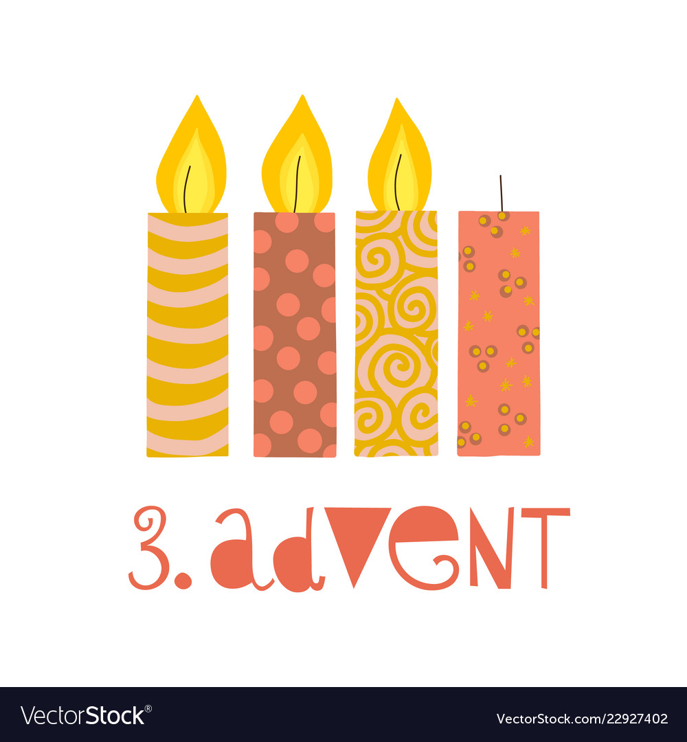 Three burning advent candles