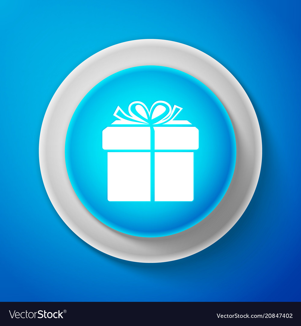 White gift box icon isolated on blue background