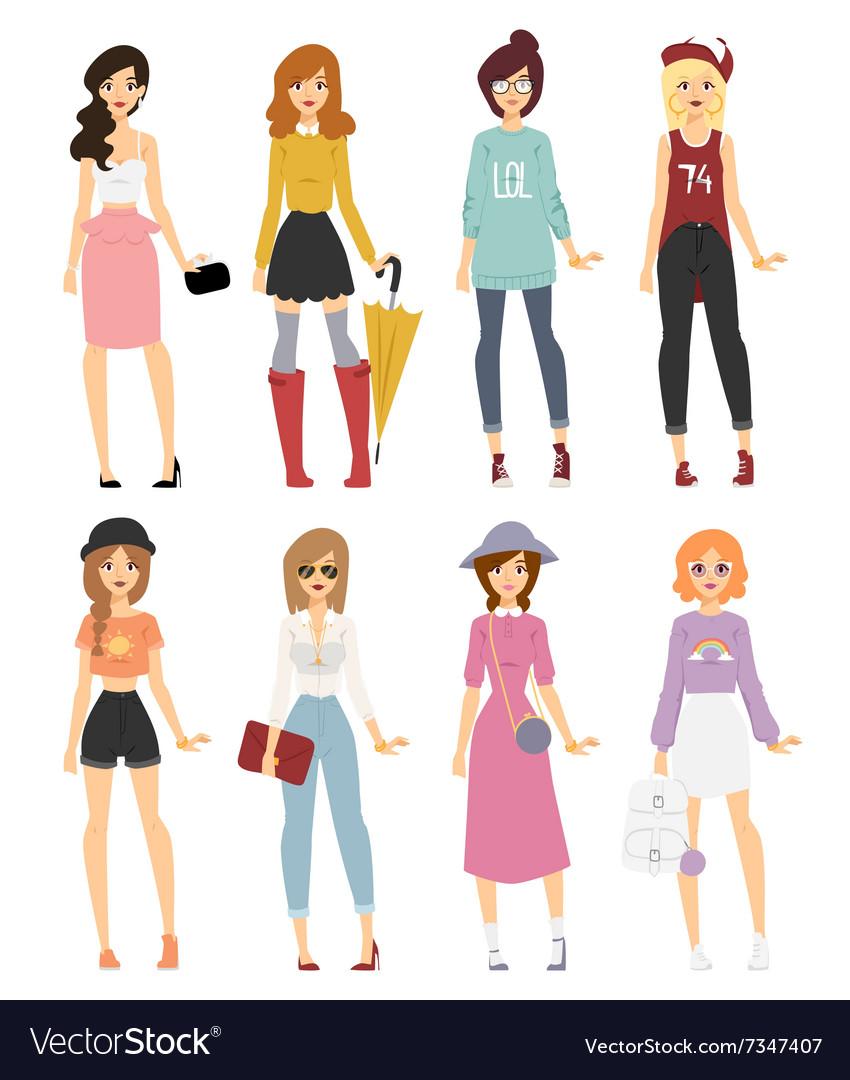 Beautiful cartoon fashion girl models look