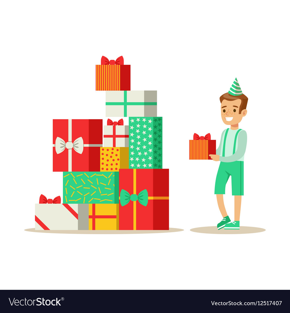 Boy Next To Giant Pile Of Presents Kids Birthday vector image