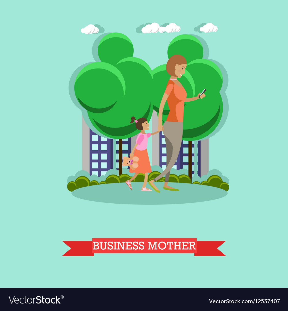Business mother and gadgets concept