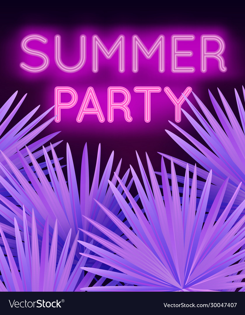 Colorful modern with neon lettering summer party