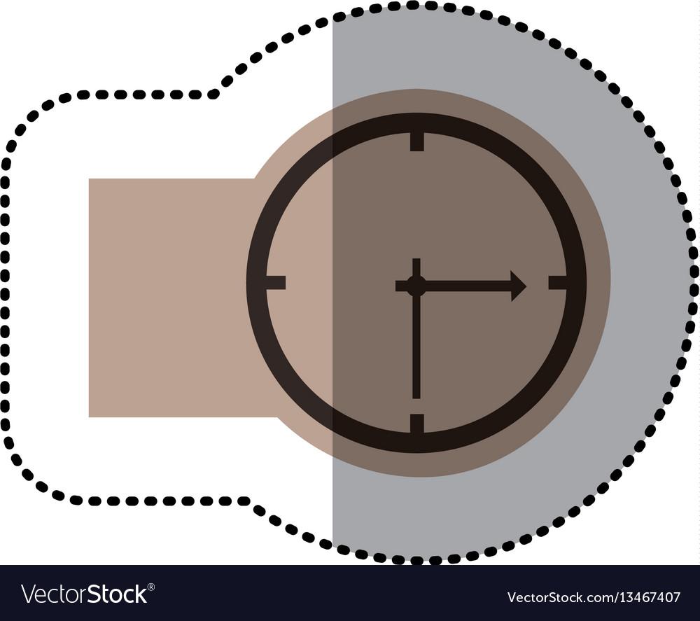 Contour emblem sticker clock icon vector image
