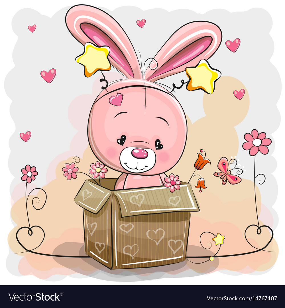 Cute rabbit in a box vector image
