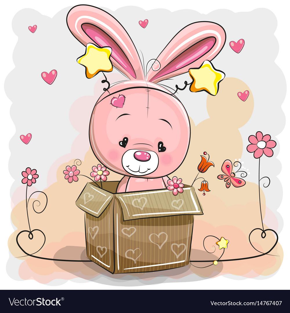 Cute rabbit in a box