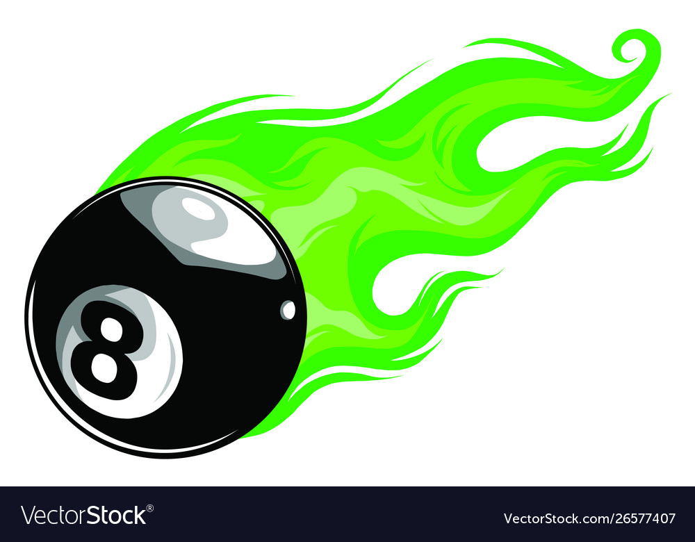 Eight ball with flames art