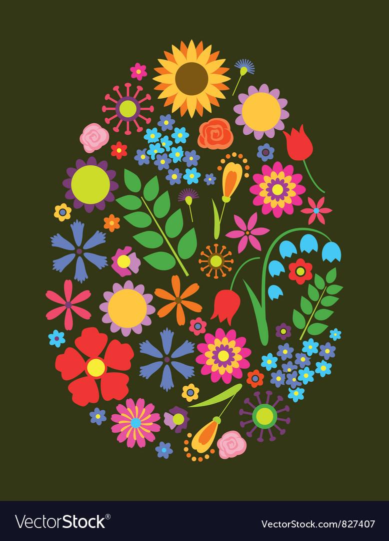 Flowers easter egg