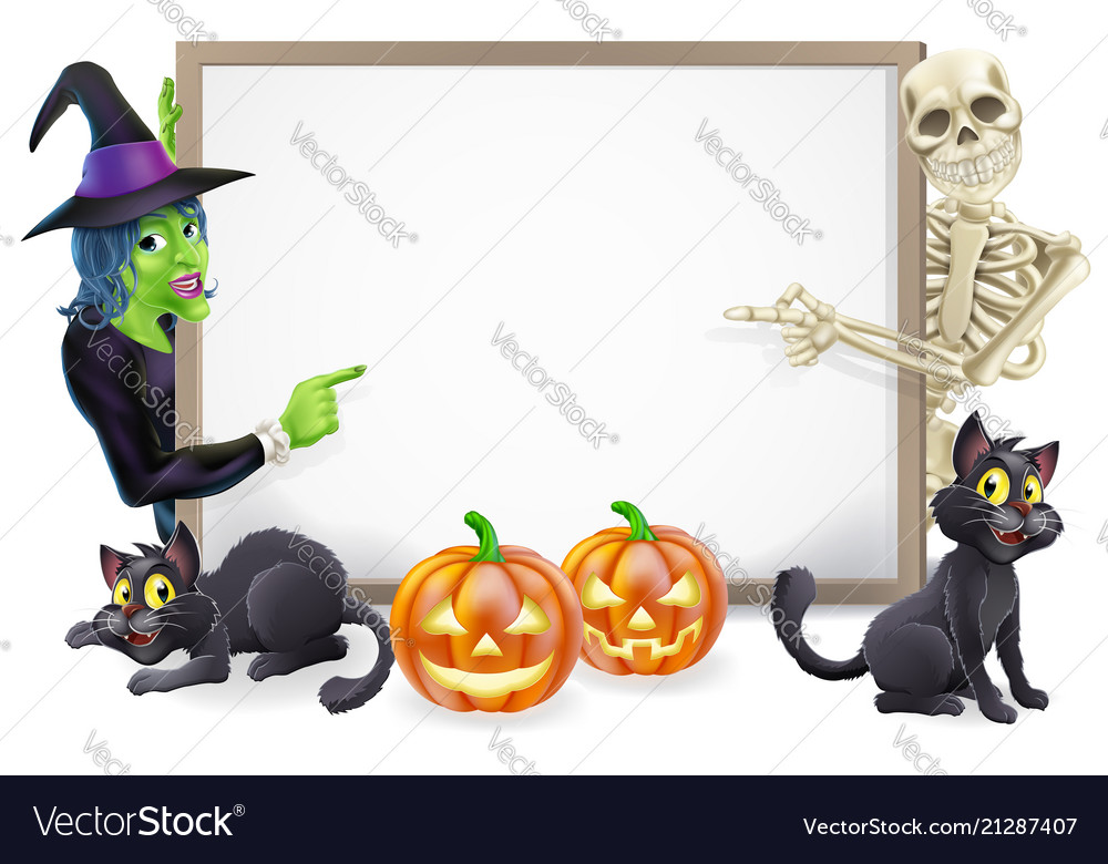 Halloween sign with skeleton and witch
