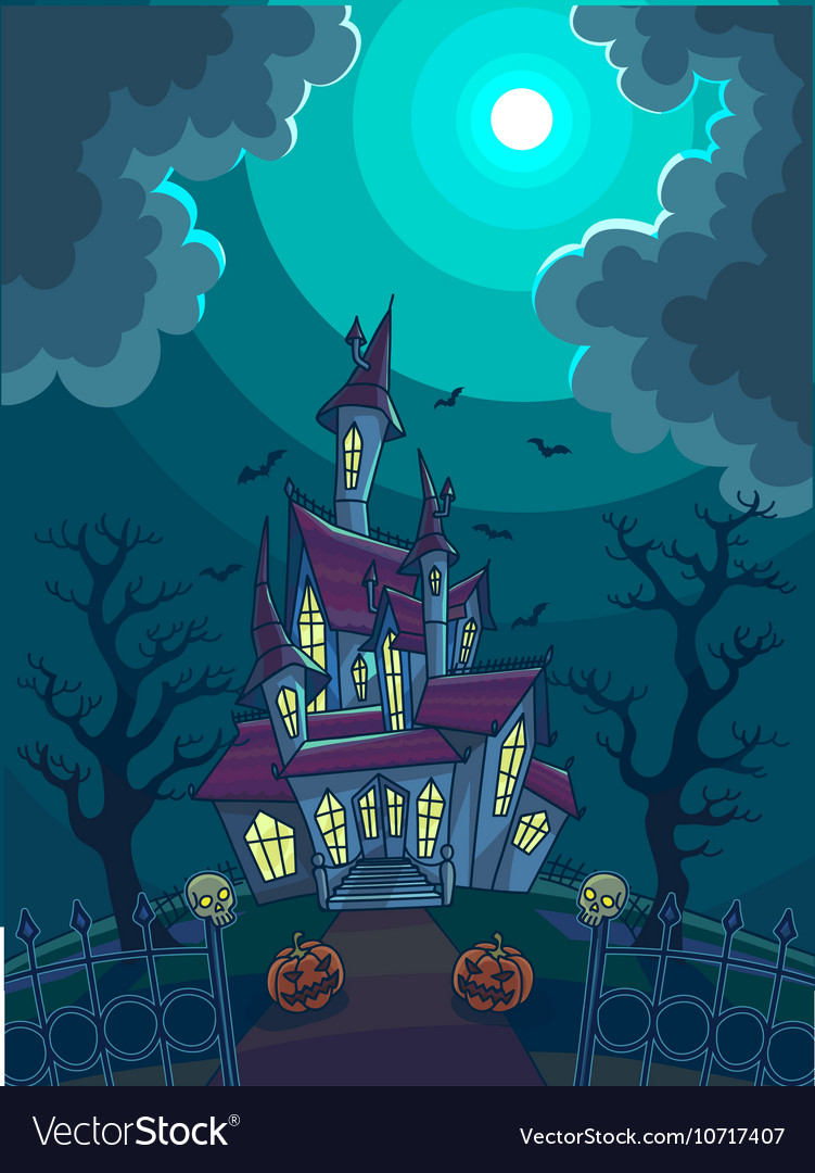 Halloween with scary house