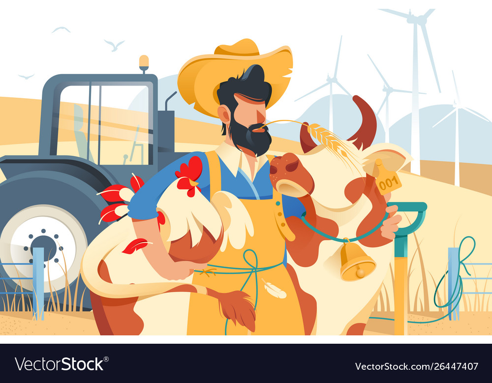 Handsome man with beard cow and chicken at farm