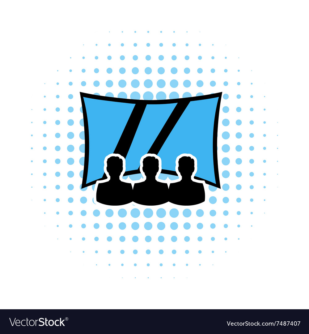 Movie theater with screen comics icon vector image