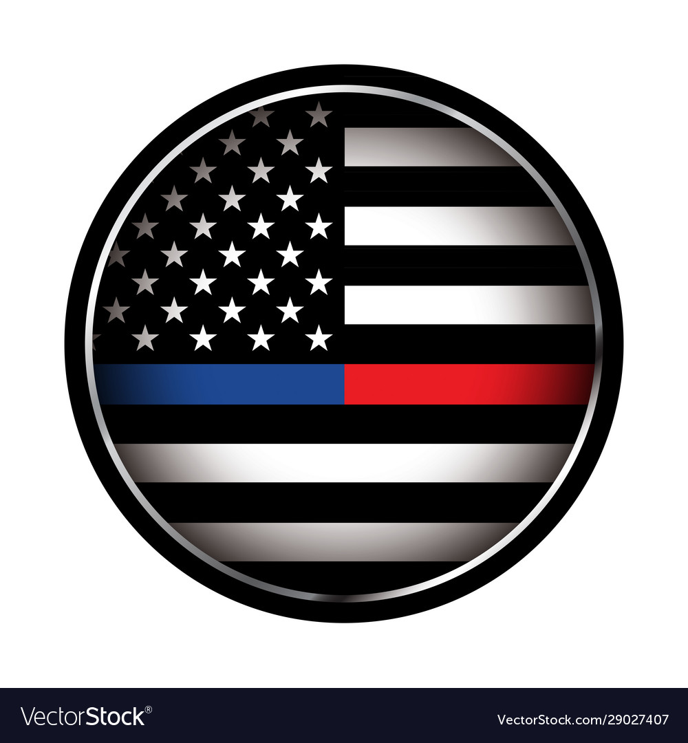 Police and firefighter american flag emblem