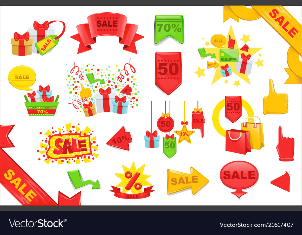 Sale stickers and banners templates set bright