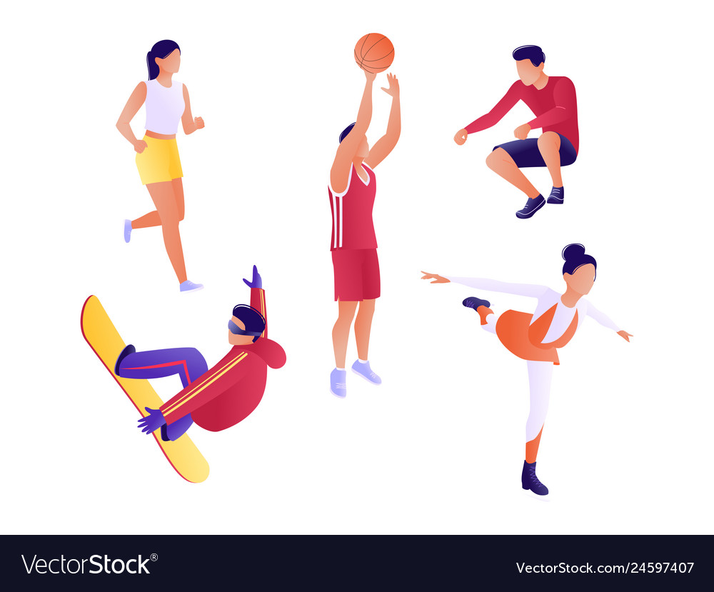 Set athletes people lead a healthy and active
