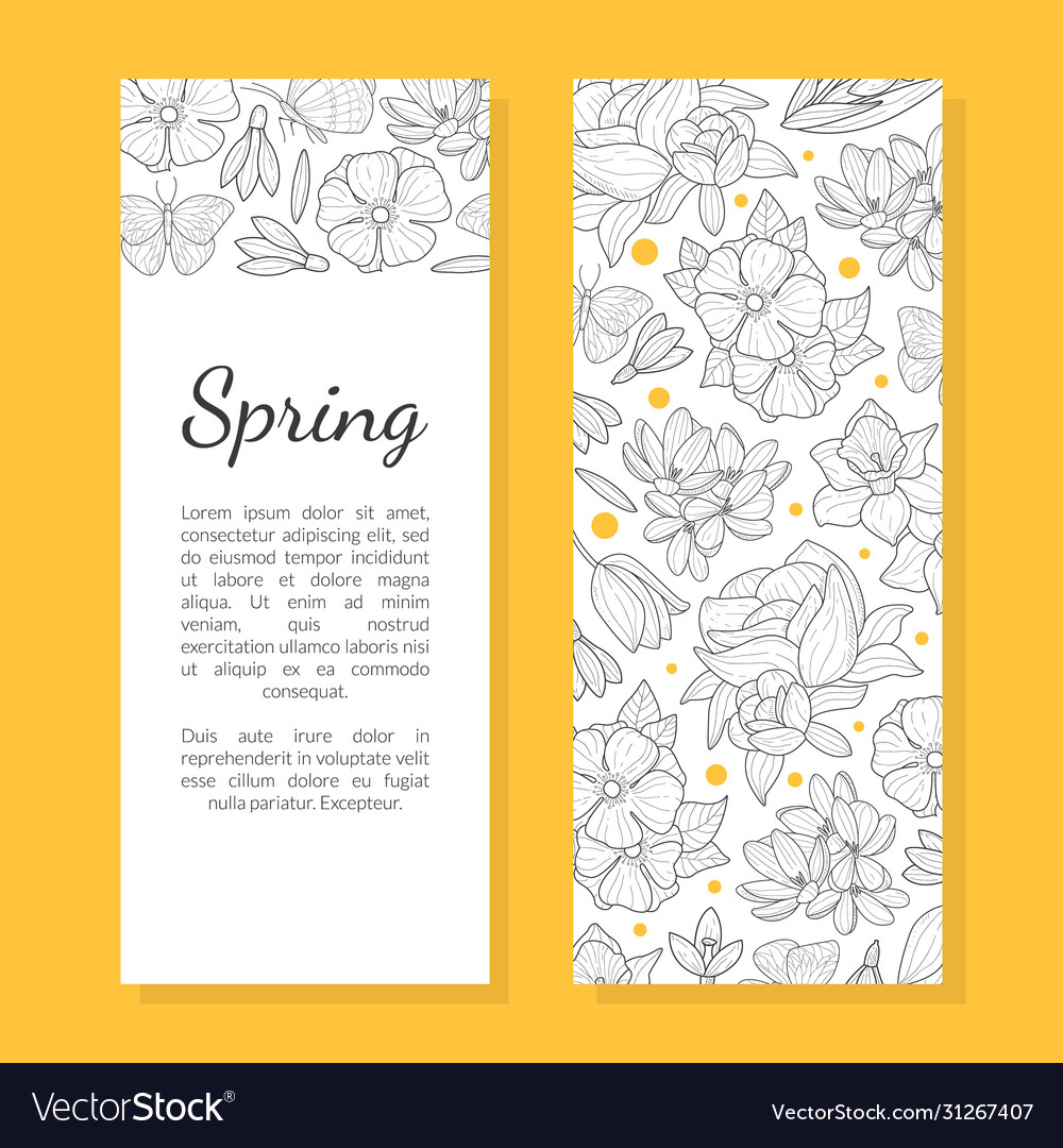 Spring flowers card template save date