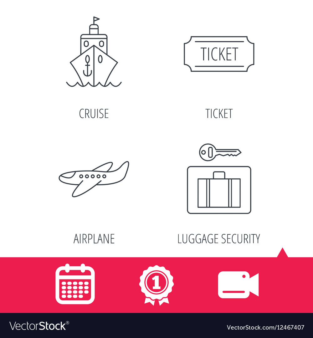 Ticket cruise ship and airplane icons