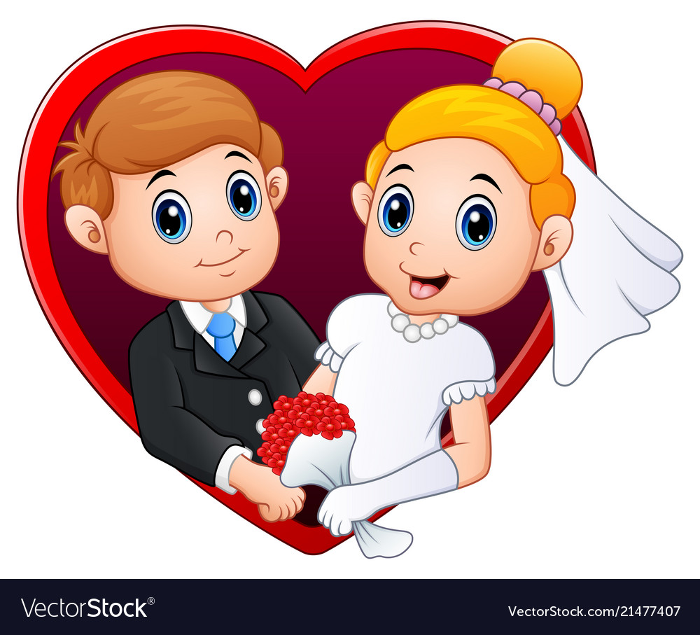 Wedding couple with red frame in the shape of hear