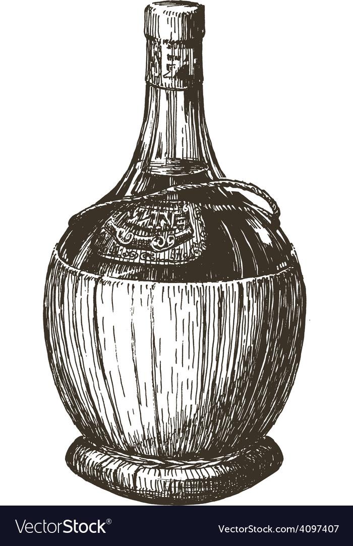 Wine bottle logo design template alcohol vector image